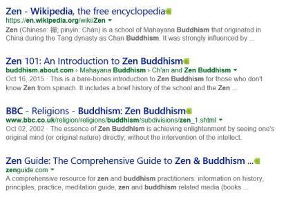 "Google Search Result to ""Zen"""
