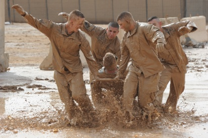 Obstacle course with recruits